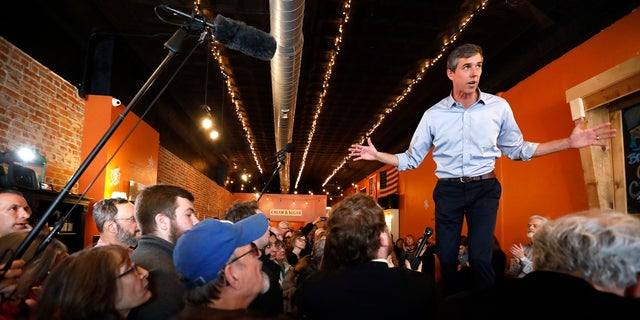 Former Texas Rep. Beto O'Rourke in Mount Pleasant, Iowa, last Friday. (AP Photo/Charlie Neibergall)