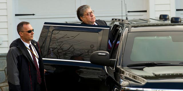 Attorney General William Barr leaves his home in McLean, Va., on Friday. Special Counsel Robert Mueller is expected to present a report to the Justice Department any day now outlining the findings of his nearly two-year investigation into Russian election meddling, possible collusion with Trump campaign officials and possible obstruction of justice by Trump.