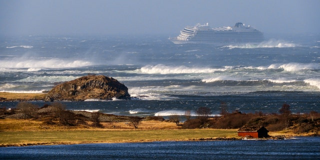 Photos from the scene showed the large vessel surrounded by choppy, white-capped waves.