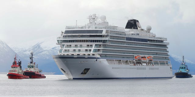 The cruise ship Viking Sky arrives at port off Molde, Norway on Sunday.