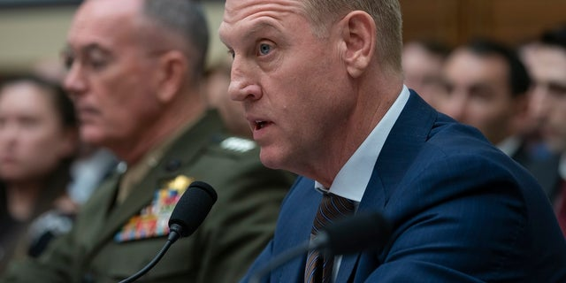 Acting Defense Secretary Patrick Shanahan, joined at left by Chairman of the Joint Chiefs of Staff Gen. Joseph F. Dunford, testifies at a House Armed Services Committee hearing on the fiscal year 2020 Pentagon budget, on Capitol Hill in Washington on Tuesday, (Associated Press)