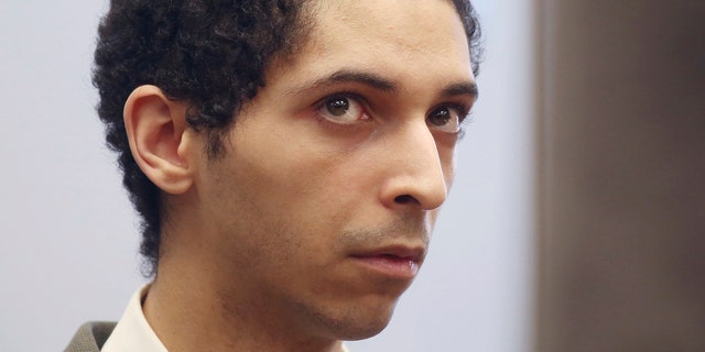 FILE - In this May 22, 2018, file photo, Tyler Barriss, of California, appears for a preliminary hearing in Wichita, Kan. Barriss, who pleaded guilty to 51 charges related to fake emergency calls and threats will be sentenced in federal court in Wichita, Friday, March 29, 2019, and could face decades in prison.