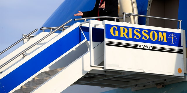 President Donald Trump arriving at Gerald R. Ford International Airport in Grand Rapids, Mich., for his rally. (AP Photo/Manuel Balce Ceneta)