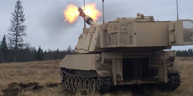 Artillerymen of 1st Battalion, 41st Field Artillery Regiment fire M109 Alpha 6 Paladins, on Tapa Army Base, Estonia, Nov. 27, 2015.