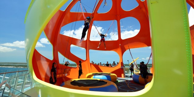 """The 25-year-old man had looked forward the """"awesome experience"""" of trying the Sky Pad attraction (pictured) during the cruise, which he took with his girlfriend, but never could have predicted that he would suffer such devastating injuries."""