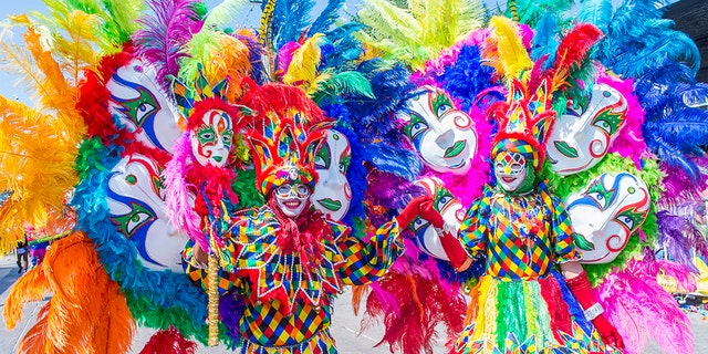 Participants in the Barranquilla Carnival in Barranquilla Colombia , Barranquilla Carnival is one of the biggest carnivals in the world. (Photo by: Kobby Dagan/VW Pics/UIG via Getty Images)