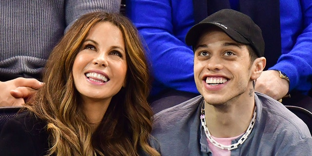 Kate Beckinsale, left, and boyfriend Pete Davidson watching the New York Rangers face the Washington Capitals at Madison Square Garden on Sunday.