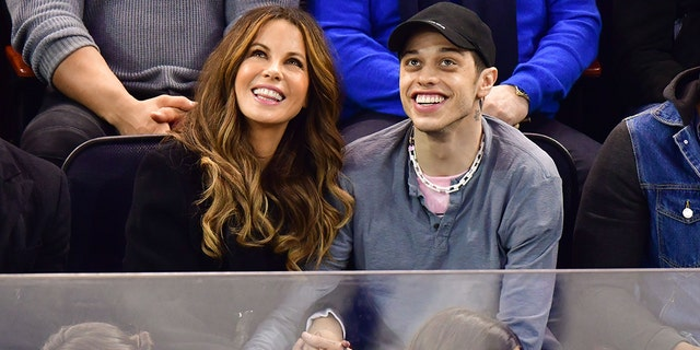 Kate Beckinsale and Pete Davidson attend a New York Rangers game in New York on March 3, 2019.