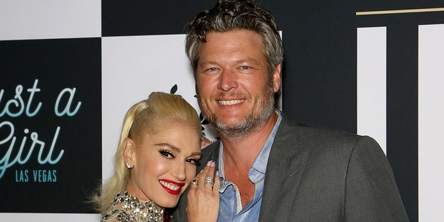 "Singer Gwen Stefani (L) and recording artist Blake Shelton attend the grand opening of the ""Gwen Stefani - Just a Girl"" residency at Planet Hollywood Resort and Casino."