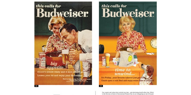 """One of Budweiser's updated ads reads, """"It's Friday, your favorite takeout just got here. Crack open a cold Bud and enjoy some time to yourself."""""""