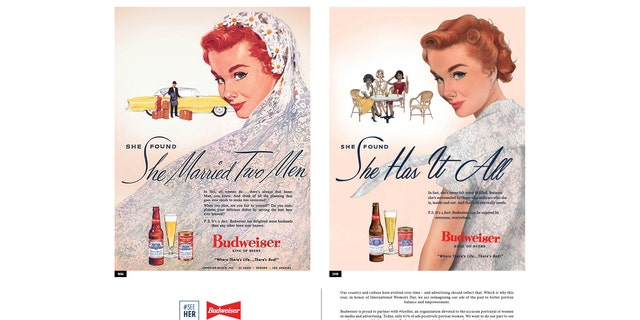 """She found she has it all"" replaces a slogan reading ""She found she married two men"" on a Budweiser ad from 1956."