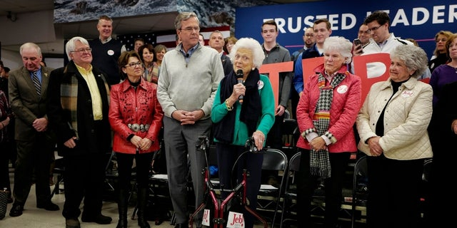 Barbara Bush campaigns for his son Jeb Bush in New Hampshire on February 4, 2016.