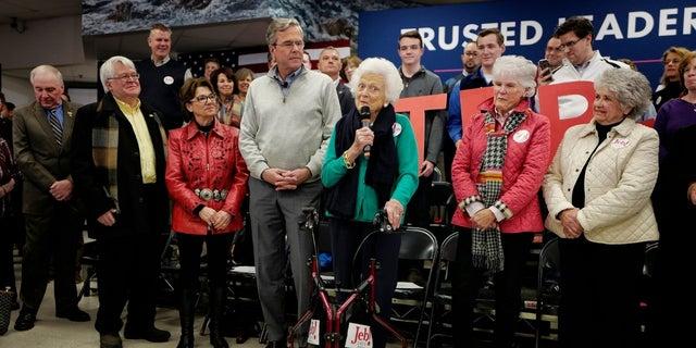 Barbara Bush campaigns for his son Jeb Bush in New Hampshire on February 4, 2016.