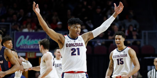 Gonzaga's Rui Hachimura (21) celebrates after a play against Pepperdine during the first half of an NCAA semifinal college basketball game at the West Coast Conference tournament, Monday, March 11, 2019, in Las Vegas.