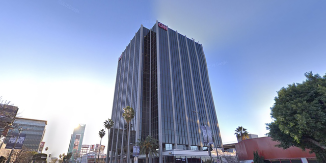 The billboardappeared opposite CNN's Hollywood headquarters (pictured).