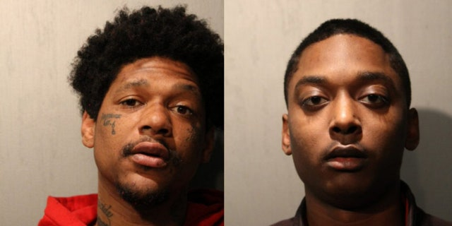 Jovan Battle, left, and Menelik Jackson, right, were charged with first-degree murder in off-duty Officer John P. Rivera's death.