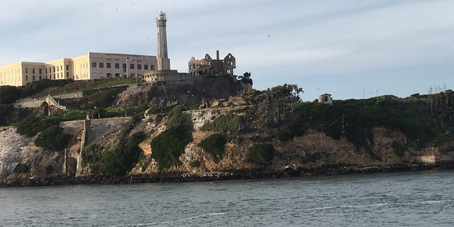 A view of Alcatraz Island. The ruined warden's mansion is in the center of the picture.