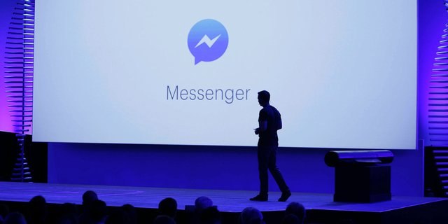 In this April 12, 2016, file photo, new features of Messenger are displayed during the keynote address at the F8 Facebook Developer Conference in San Francisco. (AP Photo/Eric Risberg, File)
