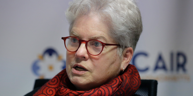 Council on American-Islamic Relations Massachusetts Civil Rights DirectorBarbaraDougan takes questions from a reporter from The Associated Press, Wednesday, March 27, 2019, in Boston. The state's largest Islamic advocacy organization is releasing its first annual report on the civil rights abuses faced by local Muslims. (AP Photo/Steven Senne)