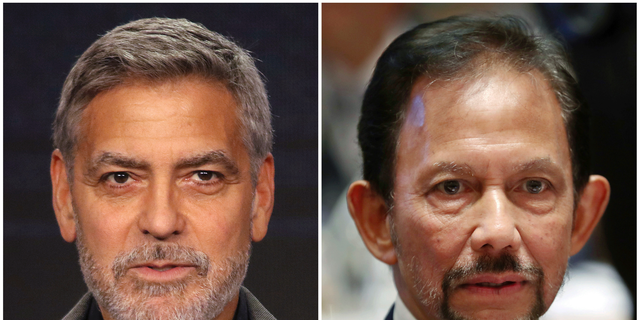 Clooney is calling for the boycott of nine hotels in the U.S. and Europe with ties to Sultan Bolkiah (right), whose country will implement Islamic criminal laws in April 2019 to punish gay sex by stoning offenders to death.