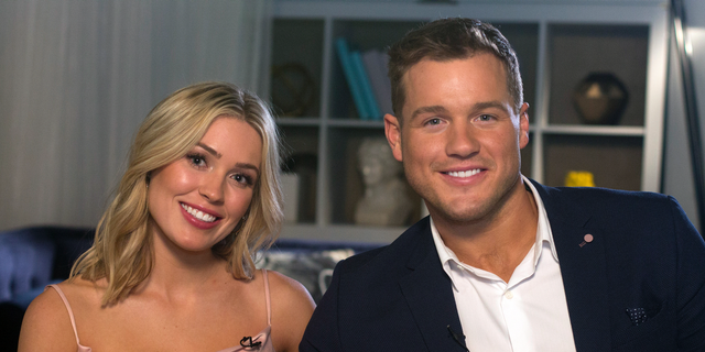 """Cast members Cassie Randolph, left, and Colton Underwood from the reality series, """"The Bachelor,"""" appear during an interview in New York on Wednesday, March 13, 2019. — AP"""