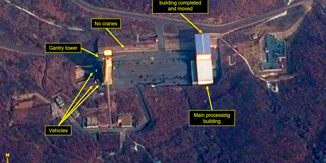 This image provided by Airbus Defence & Space and 38 North via a satellite image from CNES which was captured on March 6, 2019, shows the Sohae Satellite Launch Facility in Tongchang-ri, North Korea.