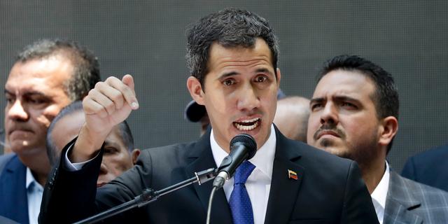 Opposition leader Juan Guaido, self-proclaimed interim president of Venezuela, talks during a meeting calling for more protests, in Caracas, Venezuela, Wednesday, March 27, 2019. (AP Photo/Natacha Pisarenko)