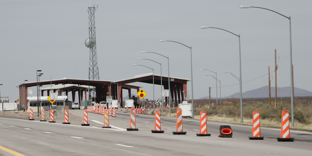 This Tuesday, March 26, 2019, photo shows a border patrol checkpoint, north of Las Cruces, New Mexico, that U.S. immigration authorities have closed and have reassigned agents to repurpose inspection areas to handle an influx of Central Americans arriving at the Mexican border. All of the checkpoints in the El Paso, Texas, sector, which includes New Mexico and West Texas, have been closed. (AP Photo/Cedar Attanasio)