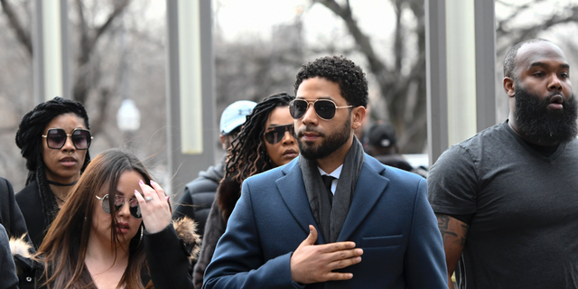 The actor of the Empire Jussie Smollett, center, arrives at the Leighon Criminal Court Building for the his audition on Thursday 14 March 2019 in Chicago.