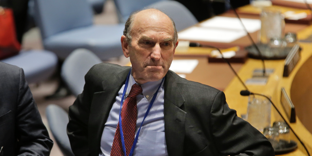 The United States special envoy to Venezuela Elliott Abrams looks over the room before the start of a Security Council meeting at U.N. headquarters, Thursday, Feb. 28, 2019. (AP Photo/Seth Wenig)