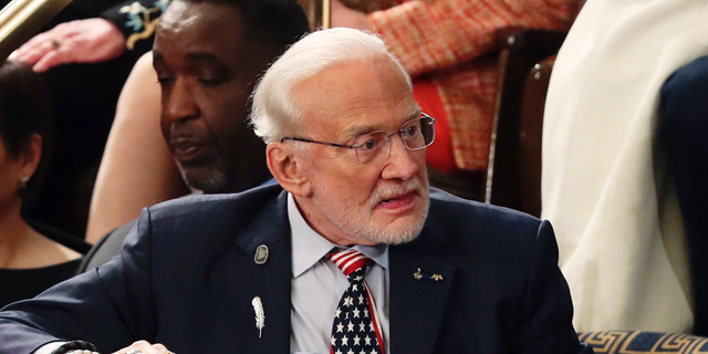 Astronaut Buzz Aldrin arrives for President Trump's State of the Union address on Feb. 5, 2019. (AP Photo/Andrew Harnik, File)