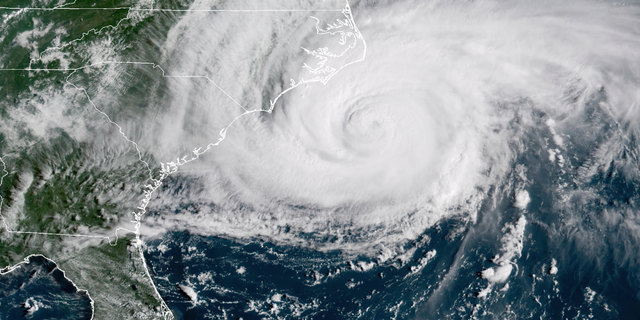 This Sept. 14, 2018, file photo shows a satellite image provided by NOAA showing Hurricane Florence on the eastern coast of the United States.