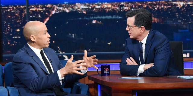 Stephen Colbert had presidential candidate Senator Cory Booker on his March 8, 2019 show. (CBS)
