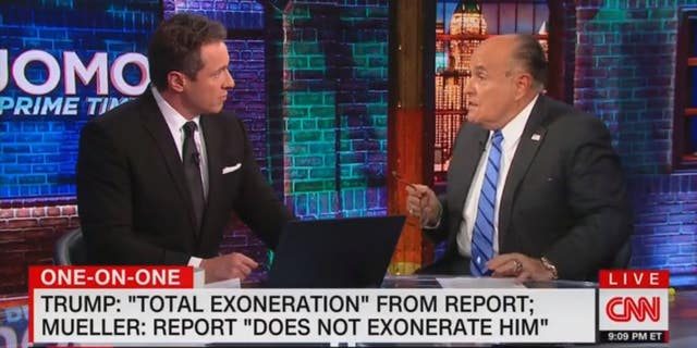 Rudy Giuliani during a contentious interview with CNN's Chris Cuomo.
