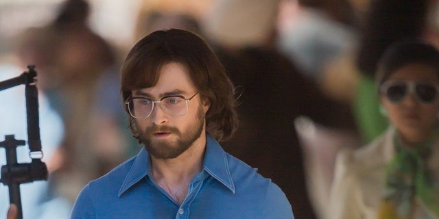 "Actor Daniel Radcliffe sweats through his fitted blue shirt during the filming of ""Escape from Pretoria"" on March 12, 2019 in South Australia."