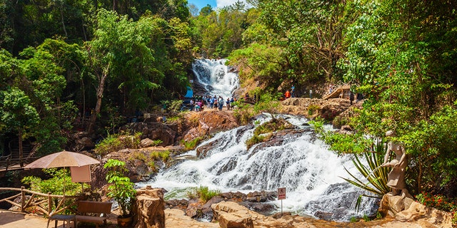 Three tourists died after plunging 50 feet in the Datanla Waterfall area of Vietnam in 2016.