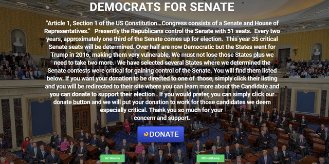 Another website set up by Dupont purportedly solicited donations for 10 Democratic U.S. Senate candidates.