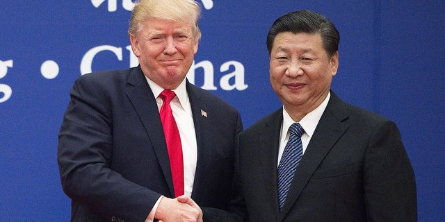 US President Donald Trump (L) and China's President Xi Jinping shake hands during a business leaders event at the Great Hall of the People in Beijing on November 9, 2017. (Photo credit should read NICOLAS ASFOURI/AFP/Getty Images)
