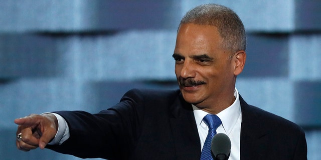 Former U.S. Attorney General Eric Holder speaks at the Democratic National Convention in Philadelphia in 2016.