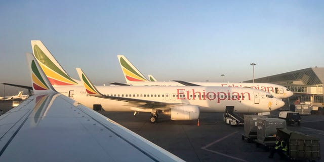 This photo taken Monday, Feb. 11, 2019 shows an Ethiopian Airlines Boeing 737-800 parked at Bole International Airport in Addis Ababa, Ethiopia.