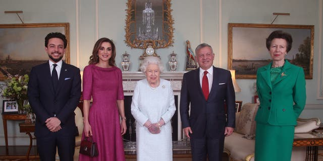 Crown Prince Hussein of Jordan, Queen Rania of Jordan, Queen Elizabeth II, King Abdullah II of Jordan and Princess Anne, Princess Royal at Buckingham Palace on February 28, 2019 in London, England.