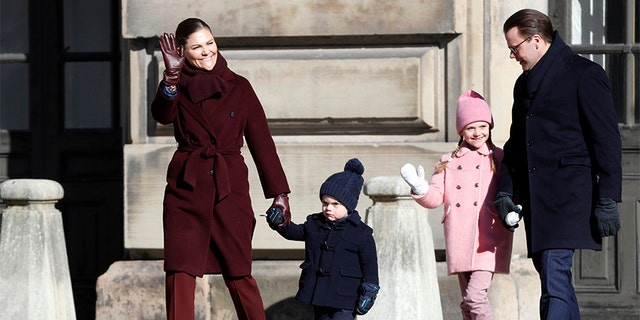 Crown Princess Victoria of Sweden, Prince Oscar of Sweden, Princess Estelle of Sweden and Prince Daniel of Sweden attend the Crown Princess' Name Day celebrations at the Stockholm Royal Palace on March 12, 2019 in Stockholm, Sweden.