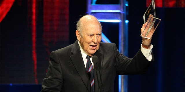 "Late actor Carl Reiner accepts the Heritage Award for the ""Dick Van Dyke Show"" onstage during the 27th Annual Television Critics Association Awards at the Beverly Hilton Hotel on August 6, 2011 in Beverly Hills, California."