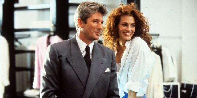 Richard Gere and Julia Roberts in the scene of the Pretty Woman movie, 1990.