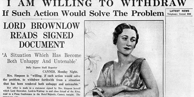 Mrs. Simpson offers to 'withdraw', 8 December 1936. Article on the front page of the 'Daily Express' about American socialite Wallis Simpson (1896-1986). Mrs. Simpson's relationship with King Edward VIII (1894-1972) eventually led to his abdication.