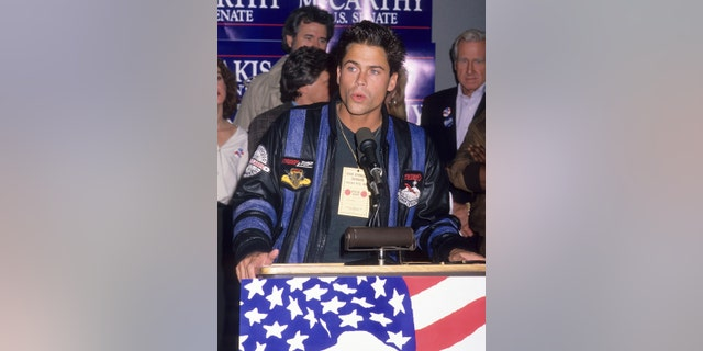 LOS ANGELES - OCTOBER 8: Actor Rob Lowe attends the 1988 Presidential Campaign: Democratic Presidential/Vice-Presidential Candidates Michael Dukakis and Lloyd Bentsen Campaign Rally on October 8, 1988 at the Los Angeles International Airport in Los Angeles, California.