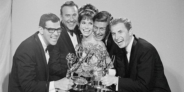 Left to right: Bill Persky, Writing Achievement; Carl Reiner, Producer; Mary Tyler Moore, Continued Performance by an Actress; Dick Van Dyke, continued opening by an actor and Sam Denoff, Writing Achievement. — Getty
