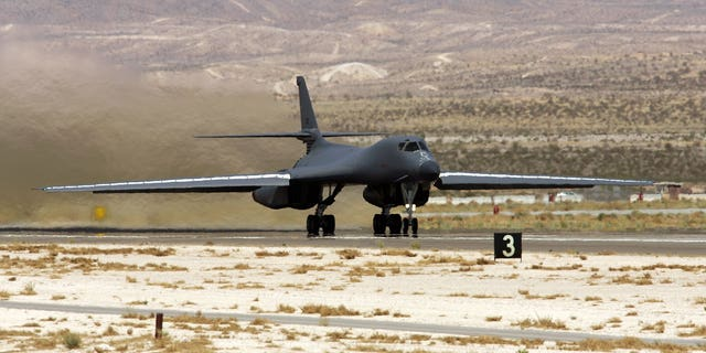 A U.S. Air Force B-1B Lancer taking off from Nellis Air Force Base in 2006. (Ethan Miller/Getty Images, File)