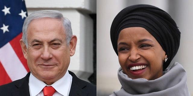 Israeli Prime Minister Benjamin Netanyahu hit back Tuesday at Rep. Ilhan Omar, D-Minn. (Getty, File)