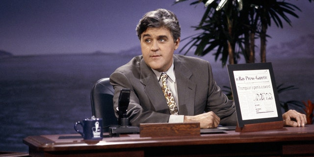 """Jay Leno during """"Headlines"""" segment of """"The Tonight Show"""" on June 8, 1992."""